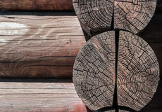 Weathered wood rustic background. Grey-brown Stock Photo