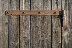 Weathered Wood with Rusty Hinge Stock Image