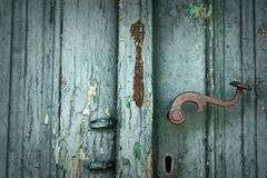 Weathered wood texture on old door Stock Image