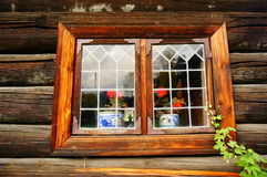 Weathered wood window planks, Norway Stock Photo