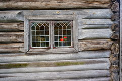Weathered wood window planks, Norway Royalty Free Stock Photos