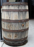 Weathered Wooden Barrel with steel bands Stock Image