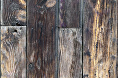 Weathered Wooden Boards. Planks of rough, weathered wood nailed together Stock Photo