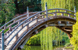 Weathered wooden curved bridge. In a lush Japanese garden royalty free stock photography