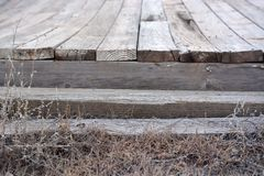 Weathered Wooden Dock. Weathered old wooden dock steps leading out to the water Royalty Free Stock Images
