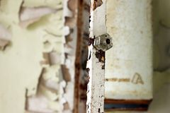 Weathered wooden door with peeling faded paint on old abandoned house Royalty Free Stock Images