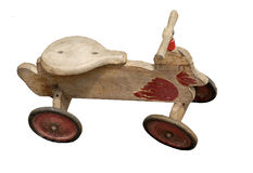 Weathered wooden duck with wheeks Stock Image