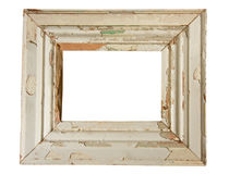 Weathered wooden frame. Empty old weathered picture frame isolated on white Stock Image