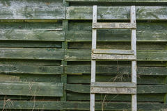 Weathered wooden ladder leaning on wooden slats Stock Photography