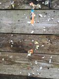 Weathered, wooden pin board. Weathered, wooden memo board with pieces of paper and drawing pins Stock Photos