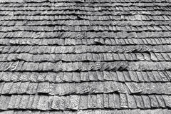 Weathered wooden roof tiles. Black and white picture of weathered wooden roof tiles Stock Photos