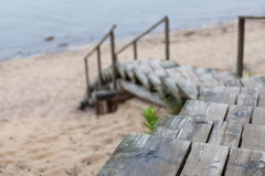 Weathered wooden stairs leading to the beach from the sand dunes Stock Images