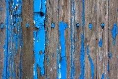 Weathered Wooden Wall With Flaking Blue Paint Stock Photo