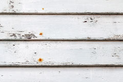 Weathered wooden wall painted in white with rusty nails Royalty Free Stock Photos