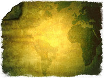 Weathered world map background. An old, weathered peace of paper with a world map. Could be used as background. Colors can easily be changed with photoshop Royalty Free Stock Image