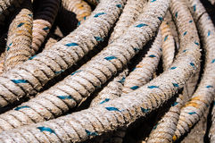 Weathered worn fishing ropes Royalty Free Stock Photos