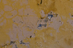 Weathered yellow wall with stains Royalty Free Stock Photo