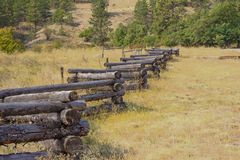 Weathered zig-zag log fence Royalty Free Stock Image