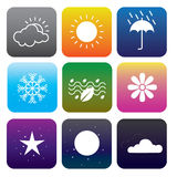 9WeatherIconSet. Icon weather for time and season Stock Image