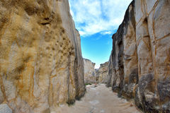 Weathering granite canyon, Fujian, China. Weathering granite canyon in Fujian, South of China, as featured geology landforms, with wonderful pattern and shape royalty free stock images