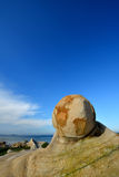 Weathering granite like a ball. Weathering and decayed granite in featured shape, at seaside in Fujian, South of China, as featured geology landforms, with Stock Images