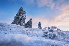 Weathering posts. Manpupuner plateau,  Russia. Weathering posts on the Manpupuner plateau, Komi Republic, Russia Stock Photo