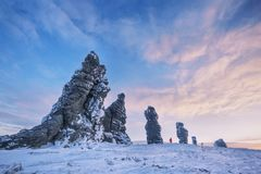 Weathering posts, Manpupuner plateau, Russia. Weathering posts on the Manpupuner plateau, Komi Republic, Russia Stock Images