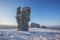Weathering posts. Manpupuner plateau, Russia. Weathering posts on the Manpupuner plateau, Komi Republic, Russia Royalty Free Stock Photography