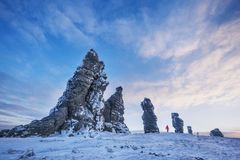 The weathering posts on the plateau Manpupuner, Russia. Weathering posts on the Manpupuner plateau, Komi Republic, Russia Royalty Free Stock Image