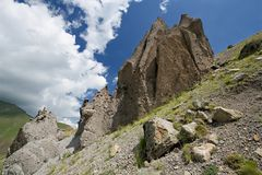 Weathering rocks on mountain slope in Caucasus Royalty Free Stock Images