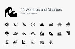 22 Weathers and Disasters Pixel Perfect Icons Royalty Free Stock Photos
