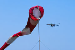 Weathervane and aviation at the airport. Stock Images