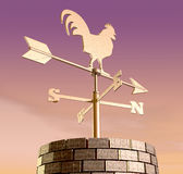 Weathervane Cockerel Chimney Dawn Stock Photos