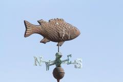 Weathervane de cobre de los pescados imagenes de archivo