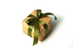 Weave bamboo gift box. With green ribbon Stock Image