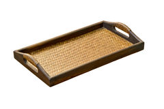 Weave bamboo tray. Weave bamboo tray isolated on white background Stock Photography