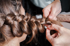Weave braids in beauty salon Royalty Free Stock Images