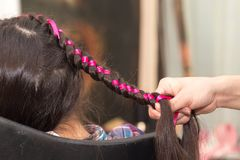 Weave braids in a beauty salon. Photo in the studio Stock Images