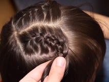 Weave braids. Weave girls braids in hair salon stock photography