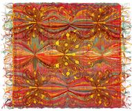 Weave Colorful Tapestry With Wavy Striped Pattern,applique Of Butterflies Stock Photos