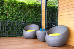 Weave da cadeira do terraço Imagem de Stock