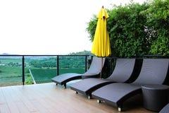 Weave da cadeira do terraço Fotografia de Stock