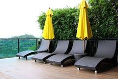 Weave da cadeira do terraço Fotos de Stock