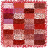 Weave grunge striped and checkered soft plaid with fringe in pink,red,white, violet,brown colors. On white Royalty Free Stock Photography