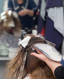 Weave hair in a beauty salon. A photo Royalty Free Stock Photos