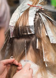 Weave hair in beauty salon Stock Images