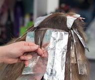 Weave hair in beauty salon. Photo taken by professional camera and lens Royalty Free Stock Photography