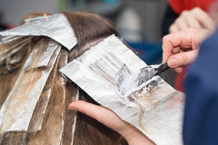 Weave hair in beauty salon. Photo taken by professional camera and lens Stock Photos
