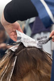 Weave hair in beauty salon. Photo taken by professional camera and lens Stock Images