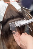 Weave hair in beauty salon. Photo taken by professional camera and lens Stock Photography